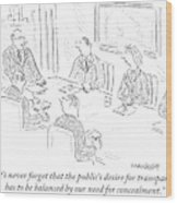 A Man At A Conference Table Addresses Five Wood Print