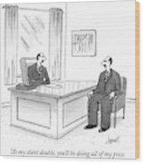 A Man At A Desk Talks To His Apparent Clone Wood Print