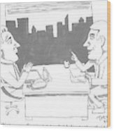 A Man Behind A Desk Speaks To Another Man In An Wood Print