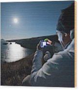 A Man Captures The Full Moon Wood Print