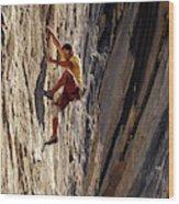 A Man Climbing A Big Wall In El Potrero Wood Print