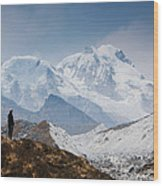 A Man Contemplates The Size Of Kanchenjunga Wood Print