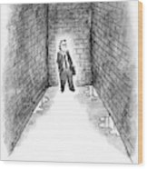 A Man Cornered In An Alleyway Speaks On His Cell Wood Print