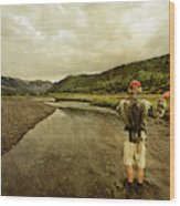 A Man Flyfishing On A River Wood Print