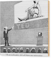 A Man Giving A Ted Presentation Points To An Wood Print