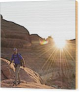 A Man Hiking In The Needles District Wood Print