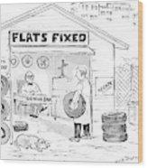 A Man Holding A Tire Walks Into Flats Fixed Wood Print