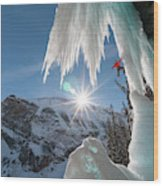 A Man Ice Climbing Louise Falls Wood Print