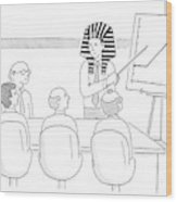 A Man In A Pharaoh Headdress Stands At The Front Wood Print