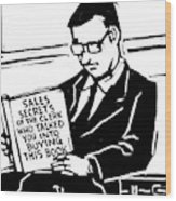 A Man In A Suit Reads A Book With The Title: Wood Print