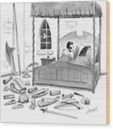 A Man, In Bed With His Wife, Speaks To Her Wood Print