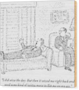A Man Is Laying On The Psychiatrist's Couch Wood Print