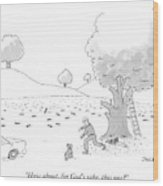 A Man Is Seen Throwing Sticks For His Dog Wood Print