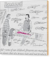 A Man Is Selling A Pink Gun To A Small Girl Wood Print