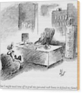 A Man Is Sitting Behind A Desk Talking To A Man Wood Print