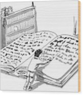 A Man Is Writing In A Huge Book On The Floor Wood Print