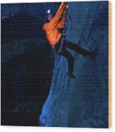 A Man Jumaring To A Route On El Cap Wood Print