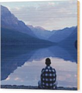 A Man Looks At The Mountains Wood Print