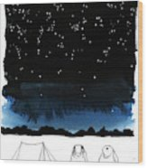 A Man Looks Up At The Night Sky Wood Print