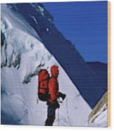A Man Mountaineering In The Alps Wood Print