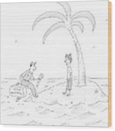 A Man On A Deserted Island Is Approached Wood Print