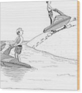 A Man On A Jetski Looks At Another Man Wood Print