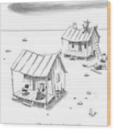 A Man On Top Of A Shack With A Ladder Wood Print