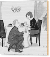 A Man Proposes To A Woman In A Restaurant Wood Print