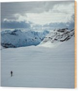 A Man Ski Touring Near Icefall Lodge Wood Print