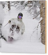 A Man Skiing Powder In The Trees Wood Print
