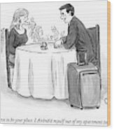 A Man Speaks To A Woman On A Date At A Restaurant Wood Print