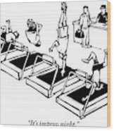 A Man Stands At The Desk Of A Gym. Four People Wood Print