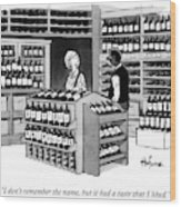 A Man Talking To An Employe At A Wine Store Wood Print