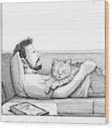 A Man Talking To The Cat Lying On His Stomach Wood Print