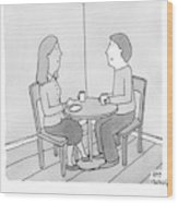 A Man Talks To His Wife Over Tea Wood Print