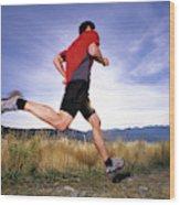 A Man Trail Runs In Salt Lake City Wood Print