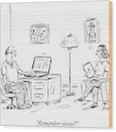A Man Using A Computer Speaks To A Woman Who Wood Print