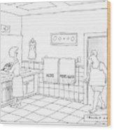 A Man Walks Into A Bathroom Where His Wife Wood Print