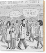 A Man Wearing A Beret Walks Down A Busy Street Wood Print