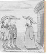 A Man Wearing A Snuggie Speaks To Two Men Wearing Wood Print