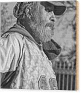 A Man With A Purpose Monochrome Wood Print