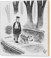 A Man With His Arm In A Sling Walks His Dog Wood Print