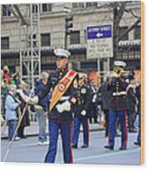 A Marine Band Marching In The 2009 New York St. Patrick Day Parade Wood Print