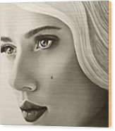 A Mark Of Beauty - Scarlett Johansson Wood Print
