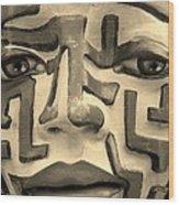 A Maze Ing Face 1 Sepia Wood Print