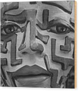 A Maze Ing Face Black And White Wood Print