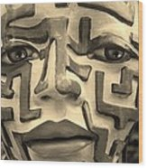 A Maze Ing Face Sepia Wood Print