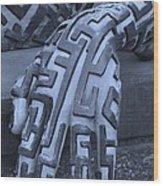 A Maze Ing Hand Cyan Wood Print