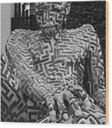 A Maze Ing Man 1 Black And White Wood Print