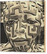 A Maze Ing Man 3 Sepia Wood Print